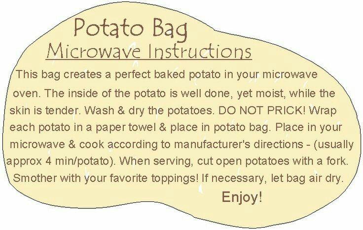 Potato Bag Poems Amp Instructions Potato Bag Microwave