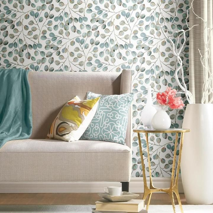 Cat Coquillette Eucalyptus Peel Stick Wallpaper In 2021 Peel And Stick Wallpaper Room Visualizer Living Room Office