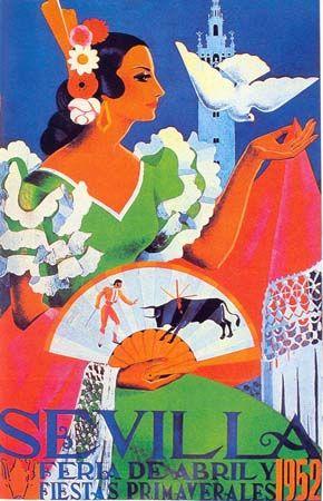 SPAIN / ANDALUSIA / Festivities - Old posters - Antiguos carteles de Feria - affiche feria 1952