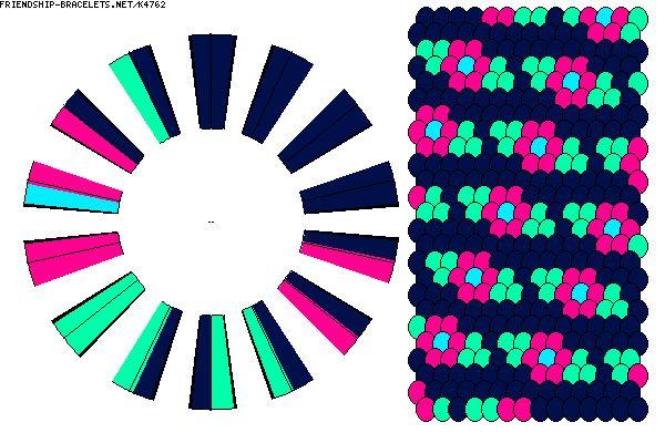 K4762 - friendship-bracelets.net                    28 strings    4 colours