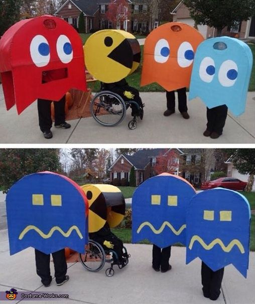 Jennifer: My son, who is a wheelchair user, wanted to be PacMan this year. PacMan needs ghosts so the whole family joined in! I made these costumes completely from scratch using...
