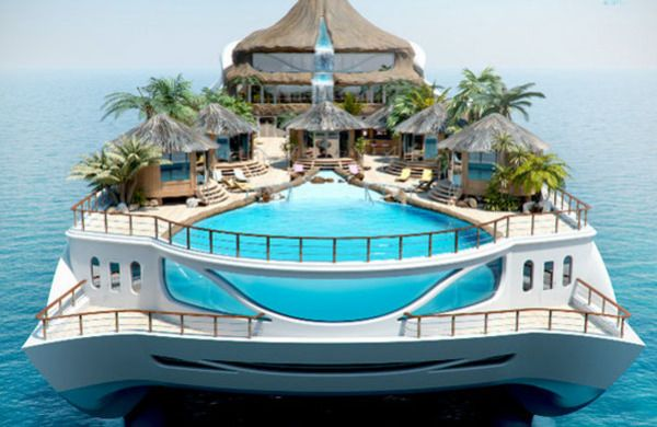Это проект яхты, который планирует реализовать британская компания Yacht Island Designs. На яхте имеются четыре комнаты класса люкс для VIP гостей и просто невероятно роскошный номер для хозяев, который встроен в вулкан. Кинозал, библиотека, игровая комната, тренажерный зал, сауна – здесь есть абсолютно все! На главной палубе размещается бассейн, гостевой домик и бар на открытом воздухе. Потоки воды из вулкана попадают прямо в бассейн, получается просто восхитительный водопад.