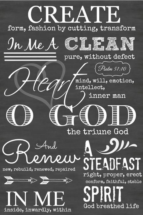 PSALM 51:10 CHALKBOARD ART - StoneGable