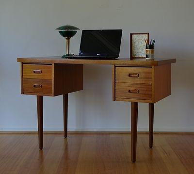 Retro mid century danish modern teak four drawer desk.