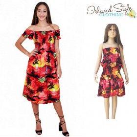 Red Sunset Mother & daughter Hawaiian fancy dress, cruisewear