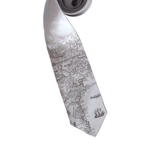 Krawat szeroki 8 cm z nadrukiem - mapa