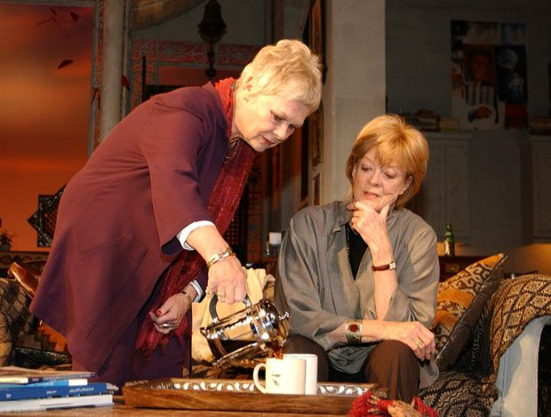 9 October 2002: Dames Judi Dench and Maggie Smith during rehearsals for 'The Breath of Life' at the Theatre Royal Haymarket in London