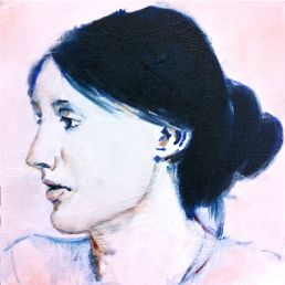 Virginia Woolf  Oil & watercolor on canvas 20x20