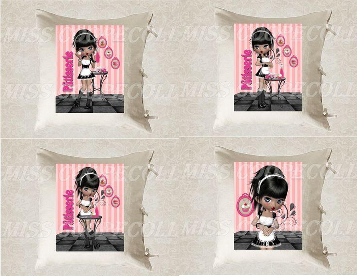 """4 images digitales pour transfert à imprimer """"Miss patisserie"""" envoi par mail rose, fushia, gateaux, rayures : Loisirs créatifs, scrapbooking par miss-coopecoll"""