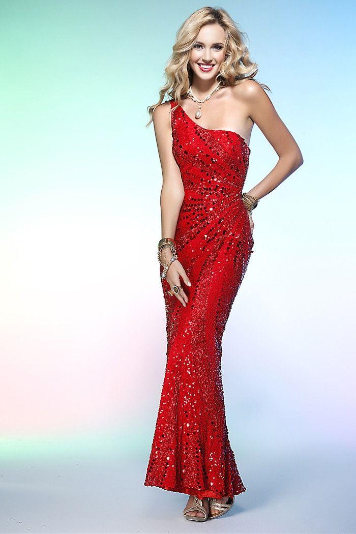 PRIMA Glitz GXL1408 Red Sequin One Shoulder Dress