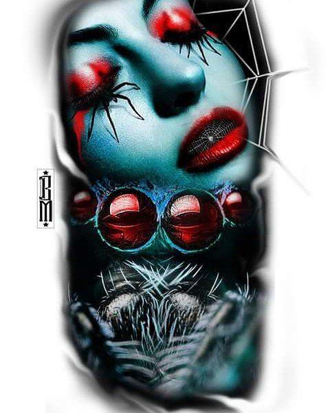 Spider #face #women #Web #spiderweb #tattoos#design.#black #colour #colourtattoo #worldfamousink #cheyenne #stencilstuff