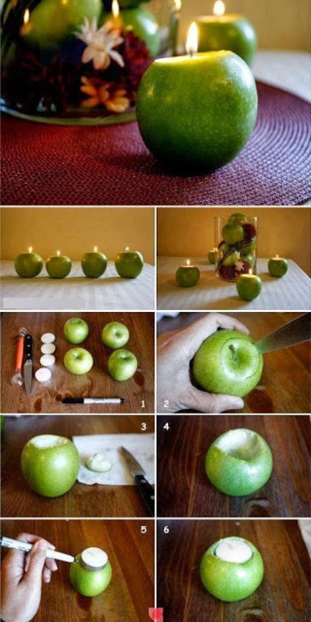 DIY Apple Candles - How cute would red and green apples be