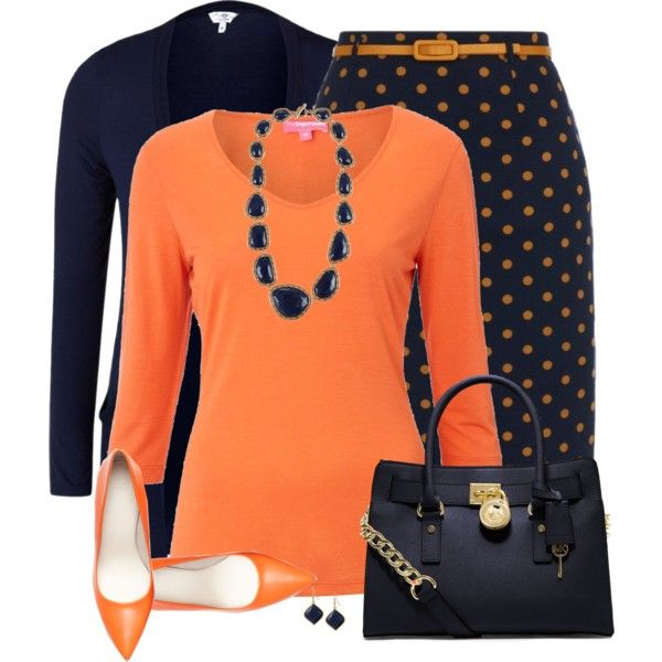 Orange and Navy, created by daiscat on Polyvore