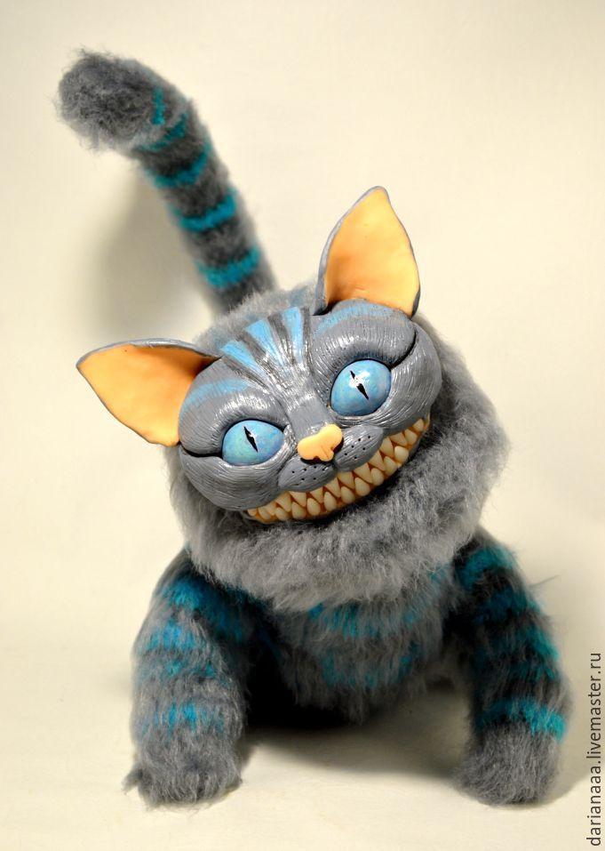 Купить чеширский кот - темно-серый, чеширский кот, кот, вязаные игрушки, подарок, сувенир