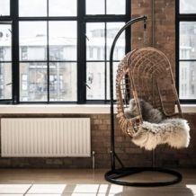 Hangstoel Donker Rotan The Classic, Standaard Metaal Zwart