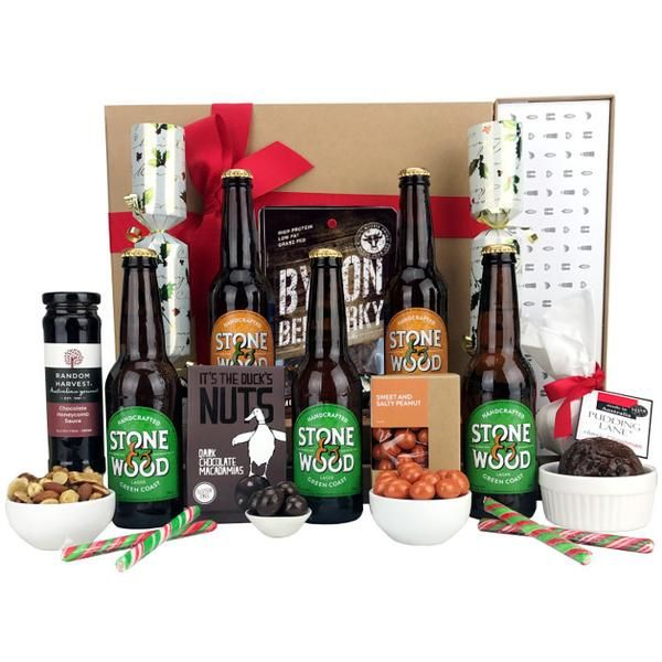 Byron Christmas beer hamper with classic local beer and gourmet Christmas treats.