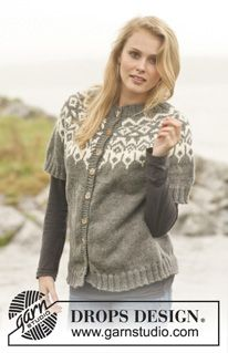 """Knitted DROPS jacket with round yoke and pattern in """"Nepal"""". Size: S - XXXL. ~ DROPS Design"""
