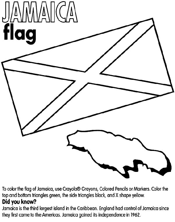 Use Crayola® crayons, colored pencils, or markers to color the flag of Jamaica. Color the top and bottom triangles green, and the side triangles black. Color the X shape yellow. <b>Did you know?</b><br>Jamaica is the third largest island in the Caribbean. Jamaica gained its independence in 1962. The island is slightly smaller than the state of Connecticut.