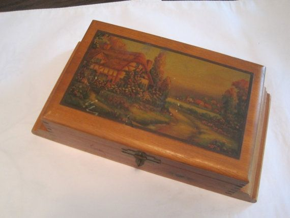 $12.00 Antique Hand Carved Wood Cedar Box With Lithograph of Cottage Scene Decoupaged On Lid-Rare Original Cedar Box-Farmhouse Desk Accessory Decor