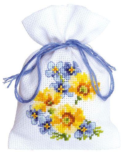 Geurzakje: Gele bloemen en blauwe 3