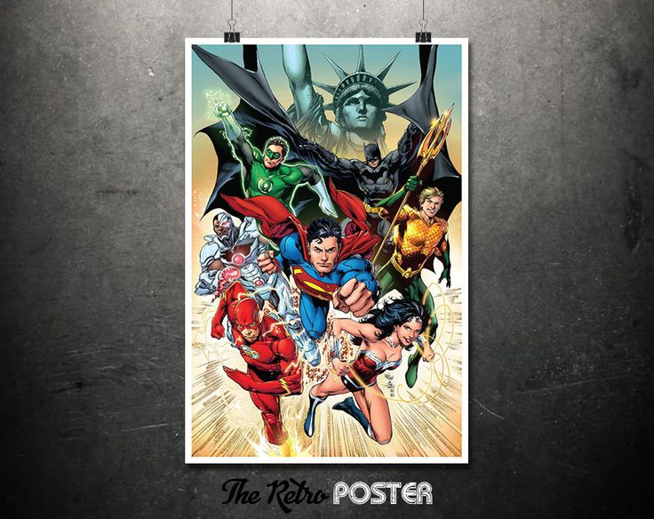 Justice League - Batman, The Flash, Superman, Wonder Woman, Kids Prints, Nursery Decor, Nursery Prints, Children Gift, Children Birthday by TheRetroPoster on Etsy