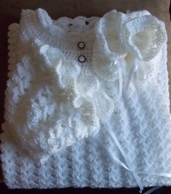 3-Piece Crocheted White Christening/Baptism by CarolinaCrochetNC