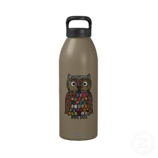 Patchwork #Owl Reusable Water #Bottle