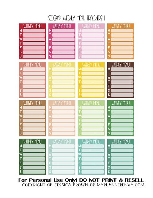 Free Printable Sidebar Weekly Menu Trackers 1 of 3 from myplannerenvy.com