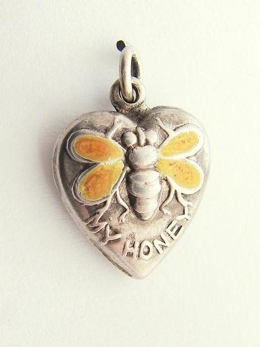 Vintage Sterling Silver Enamel Bee My Honey Puffy Heart Charm
