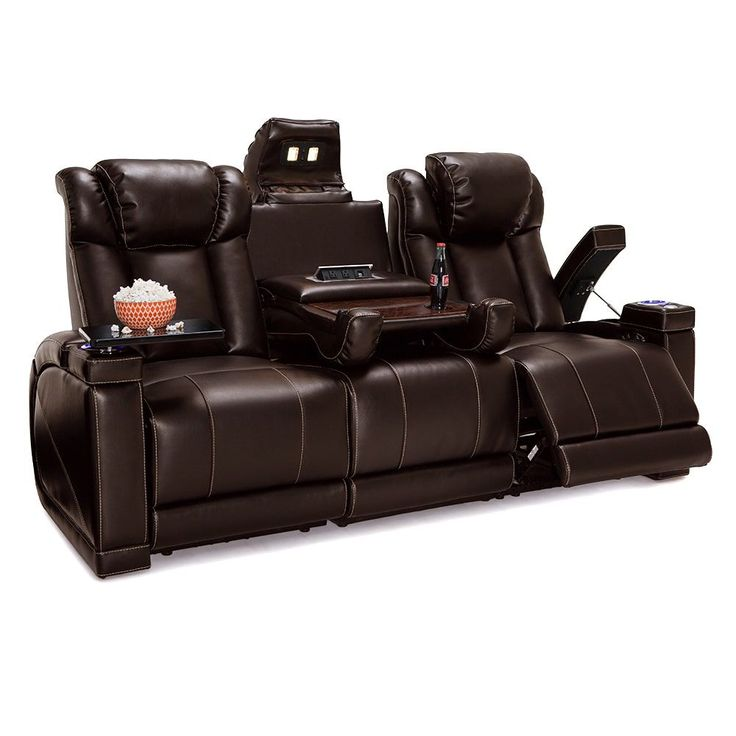 Lane Sigma Leather Gel Home Theater Seating Power Recline - Sofa w/ Fold Down Table,
