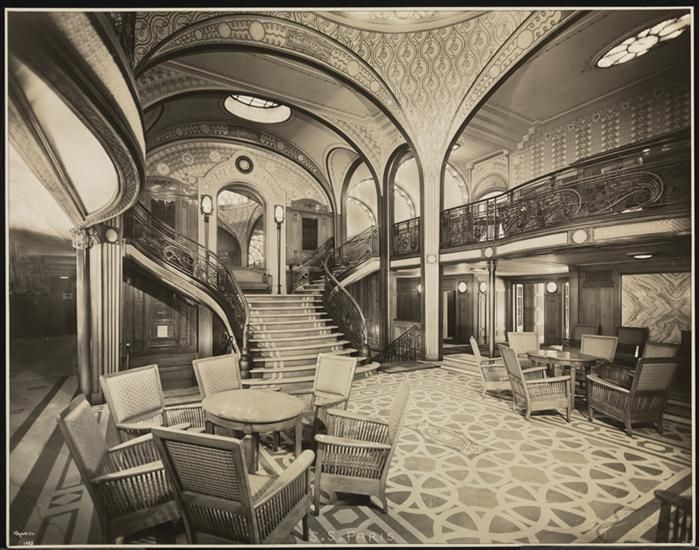 "French Line, S.S. ""Paris"", First Class, Interior, Main Entrance from Grand Stairway. DATE:July 25, 1921"