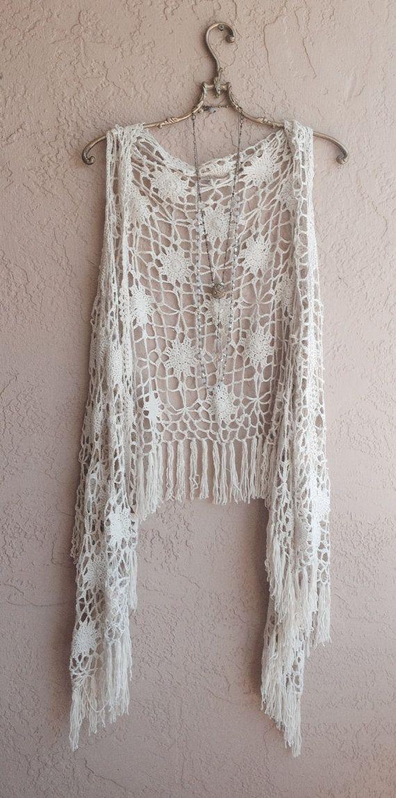 Bohemian tan crochet vest with fringe hippie gypsy by BohoAngels, $45.00
