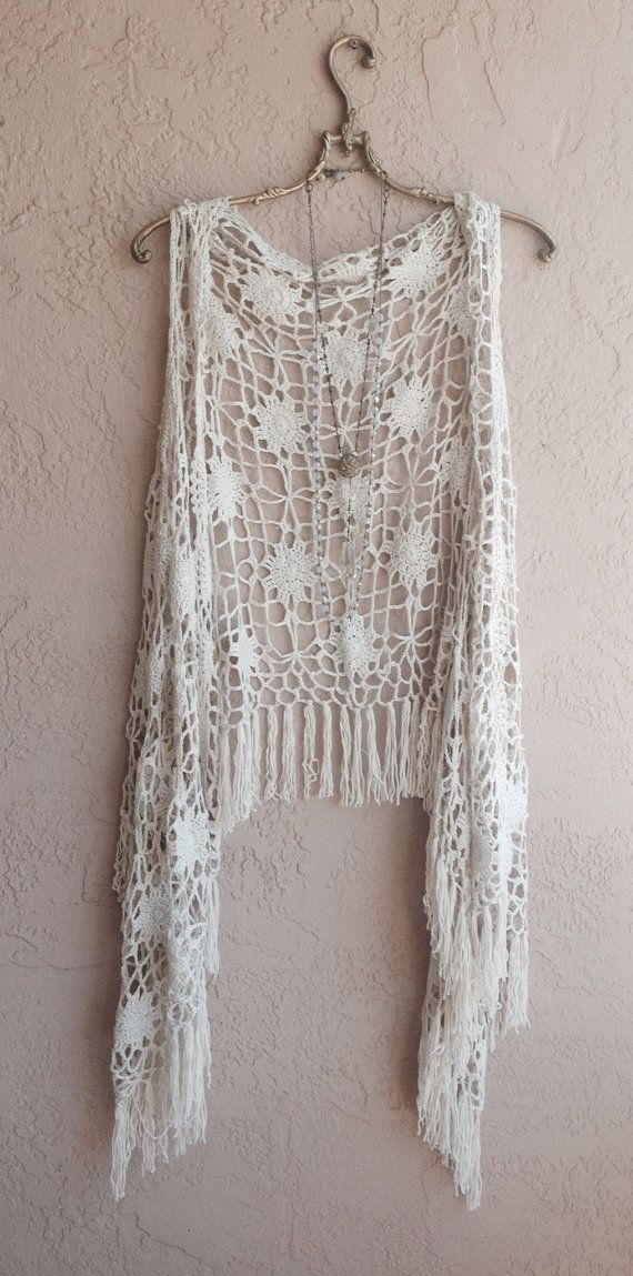 Bohemian tan crochet vest with fringe hippie gypsy by BohoAngels, $45.00