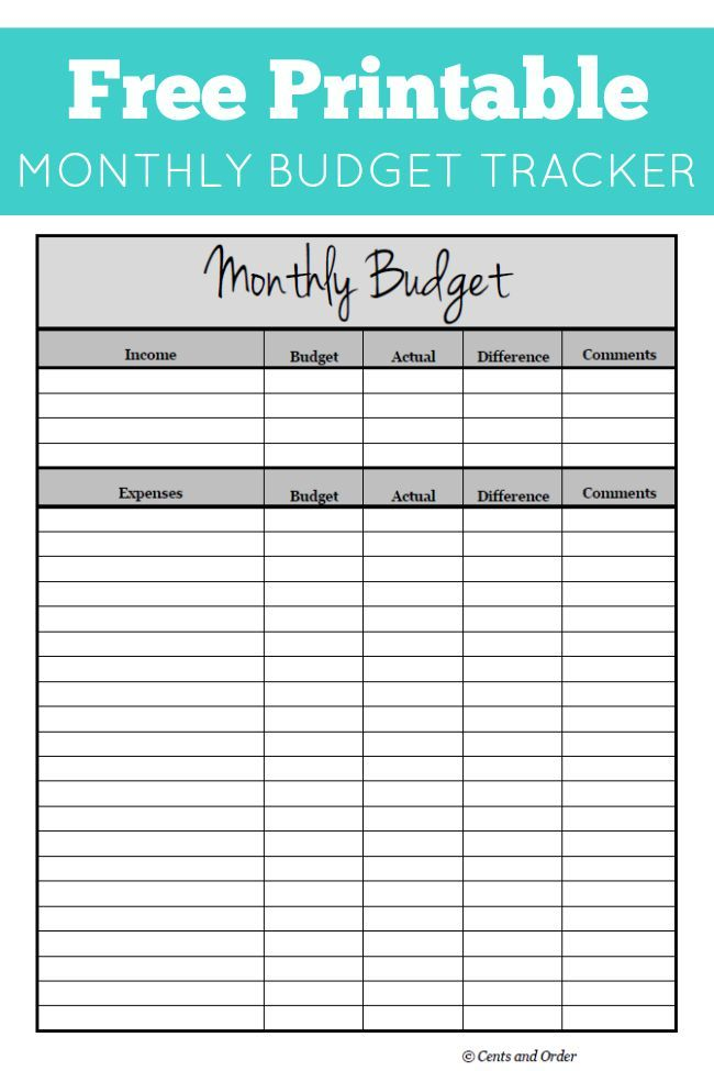 Free Monthly Budget Printable | DIY Ideas | Budgeting ...
