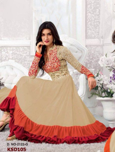 Colour: Cream & Orange Collection : KSD105 Top Fabric : Georgette Bottom Fabric : Santoon Innar Fabric : Santoon Dupatta Fabric : Nazneen Top Length : 55 (2 mtr) Bottom Length : (2.5 mtr) Dupatt Length : 2.25 mtr Work : Embroidered, Stone Work  Buy at Just  Rs.1799/-