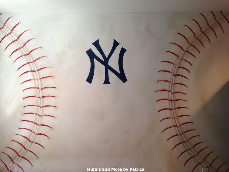 25 best ideas about yankees nursery on pinterest boys for Baseball wallpaper mural