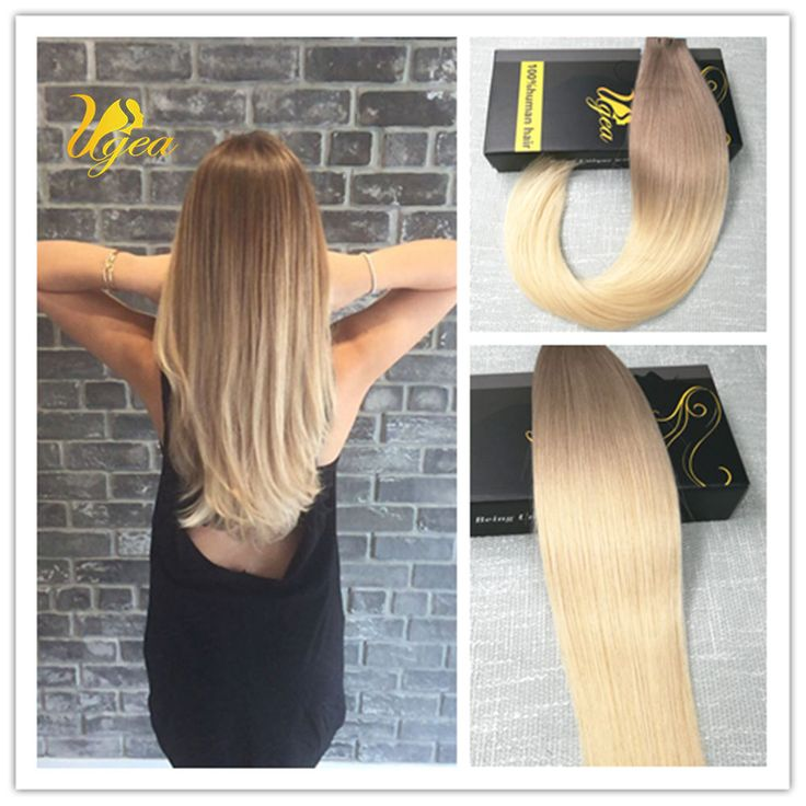 8A Brazilian Ombre Ash Brown to Blonde Remy Tape in Real Human Hair Extensions #Ugea