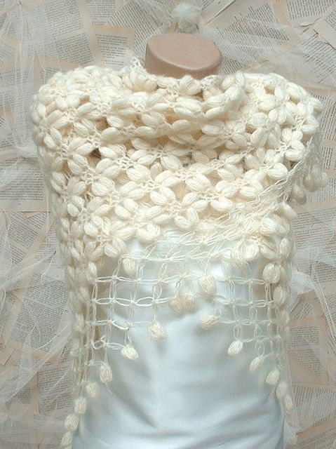Crochet bubble shawl shrug capelet ivory by crochetbutterfly