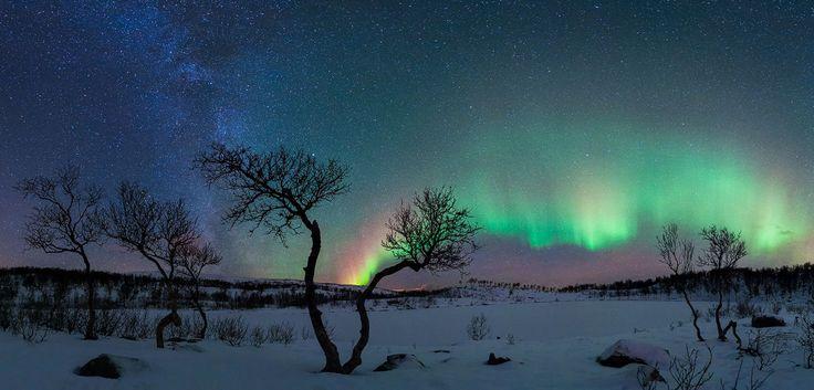 Aurora y la Vía Láctea