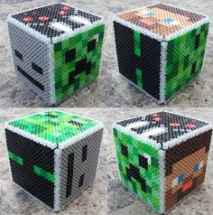 perler beads patterns free printable minecraft | Minecraft boxes hama perler beads Might work with plastic canvas