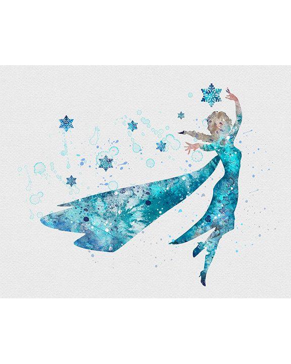 Princess Elsa Frozen Watercolor Art