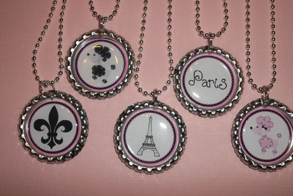 Set of  5 Pink Poodle in Paris Party Favors by ChicBowsNmore