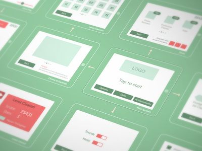Wireframing for a game, via dribbble, by Cuberto