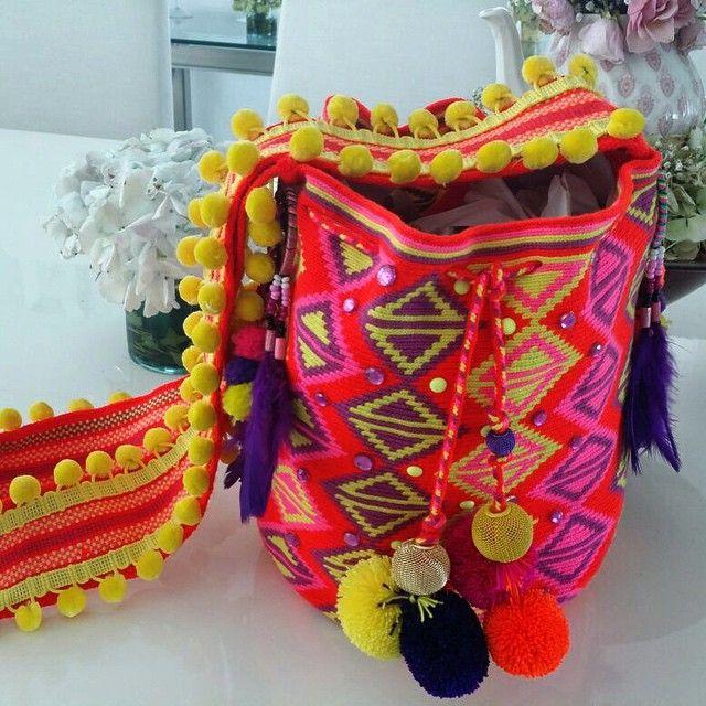 Wayuu Mochila bag pom pom and feathers