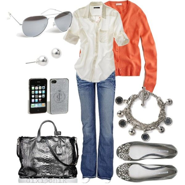 """Relaxed"" by dixi3chik on Polyvore: Outfits, Fashion, Dreams Closet, Style, Clothing Shoes Bags Jewelry, Orange Sweaters, Jeans, Silver Shoes, Flats"