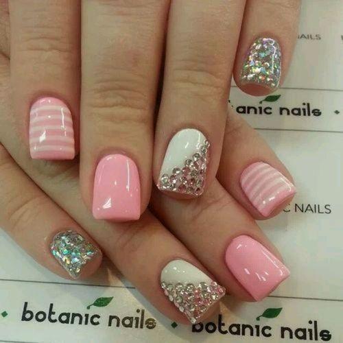 Gel baby pink nail art with stripes, diamanté,  glitter.