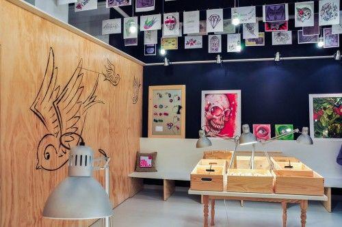 small gallery art tattoo shop interior design idea