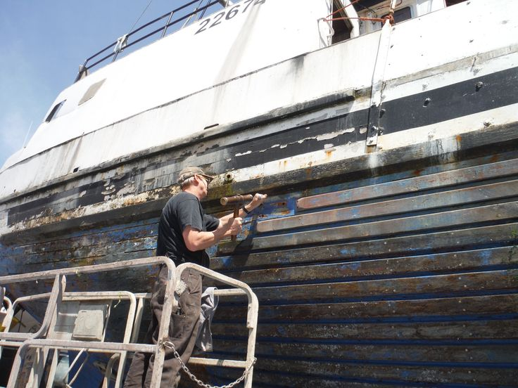 Eclipse, a 72' wood scooner, out of Astoria Oregon, was recently hauled out for some replacement caulking done the old fashioned way specialty of Platypus Marine.