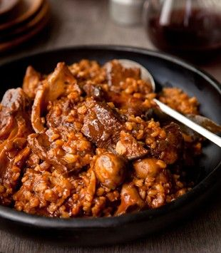 Braised beef chuck carbonnade with barley & wild mushrooms | Karen Martini. OK with just 200g mushrooms