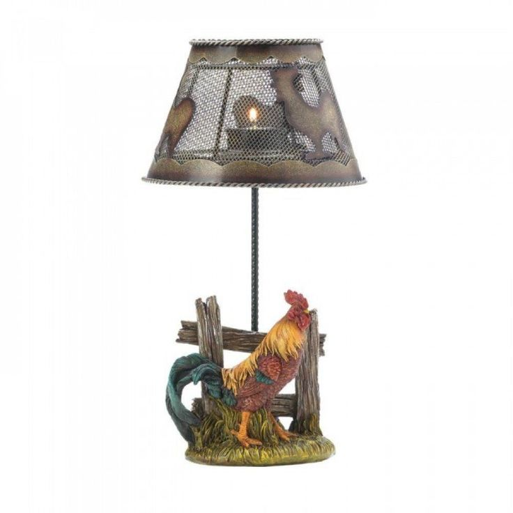 Country Rooster Candle Lamp With A Rustic Wooden Fen candelabra candle holder #AccentPlus